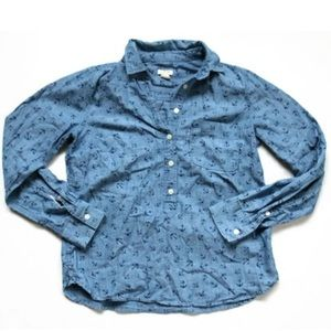 J.Crew Anchor Print Blue Chambray Button Up